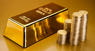 Gold Coins and Brick